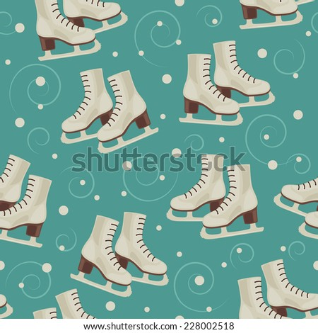 Vintage blue winter wallpaper with skates