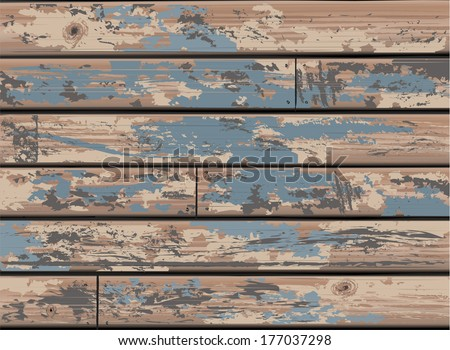 Vintage Blue Wooden Wall Background with Old Distressed Timber - Detailed vector, Grouped and Layered, easy to edit and change colors