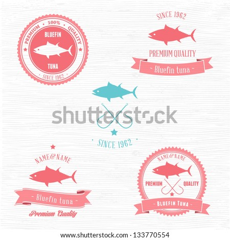 Vintage Bluefin Tuna Badge set | Editable EPS vector illustration - stock vector