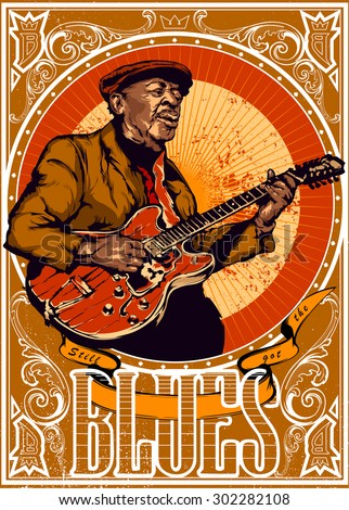 Vintage blues vector illustration - old bluesman is playing on guitar