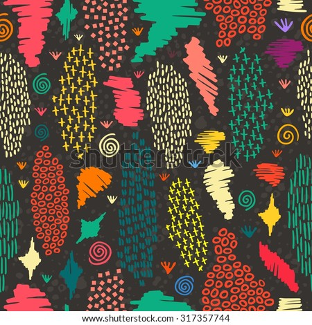 Vintage boho fashion style seamless pattern blackboard background with colorful tribal shapes. Ideal for fabric design, paper print and web backdrop. EPS10 vector file.  - stock vector