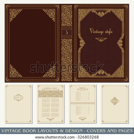 Vintage book layouts and design - covers and pages, classical rich frames, dividers, corners, borders, luxury ornaments and decorations, beautiful pages templates for creative design - stock vector