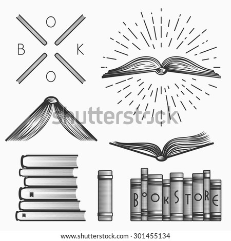 Vintage book store and library emblems, logos templates, labels, symbols  and design elements. Stock vector. - stock vector