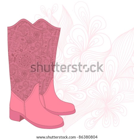 Vintage boots with floral fabric. Cowboy boot with flowers ornament. - stock vector