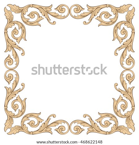 Vintage border frame engraving with retro ornament pattern in antique rococo style decorative design. Element of Design.