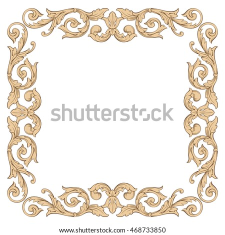 Vintage border frame engraving with retro ornament pattern in antique rococo style decorative design. Royal element of design on a white background.