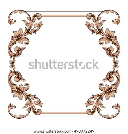 Vintage border frame engraving retro ornament em vetor stock vintage border frame engraving with retro ornament pattern in antique rococo style decorative design royal junglespirit Choice Image
