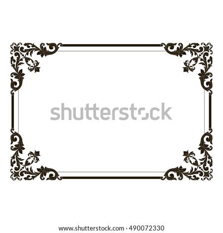 Vintage border frame engraving retro ornament stock vector 490072330 vintage border frame engraving with retro ornament pattern in antique rococo style decorative design royal stopboris Gallery