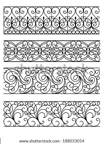 vintage border set - stock vector