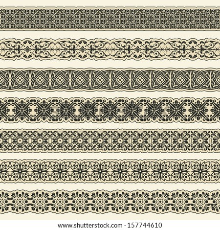 Vintage border set for design  - stock vector