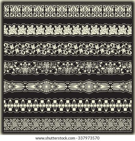 Vintage border set for design  - stock vector