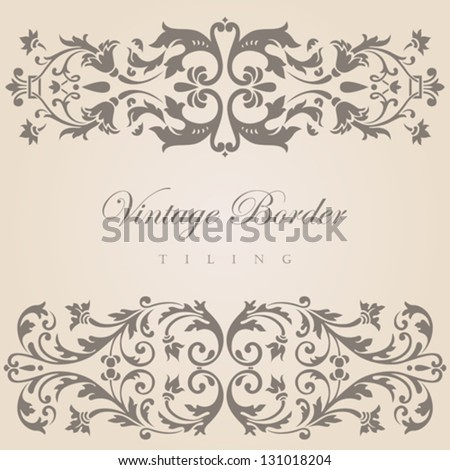 Vintage border tiling elements collection.  Vector abstract Floral ornament. - stock vector