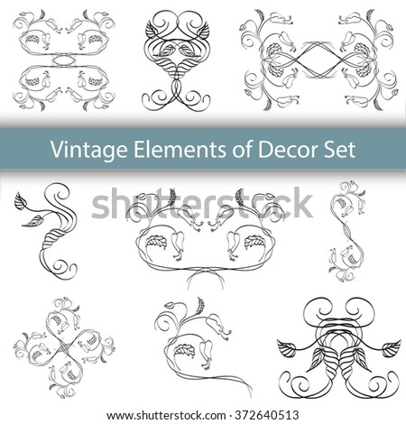 Vintage borders vector set. Ornamental frames for greetings and invitations. Floral elements of decor. Universal vintage ornaments for design.