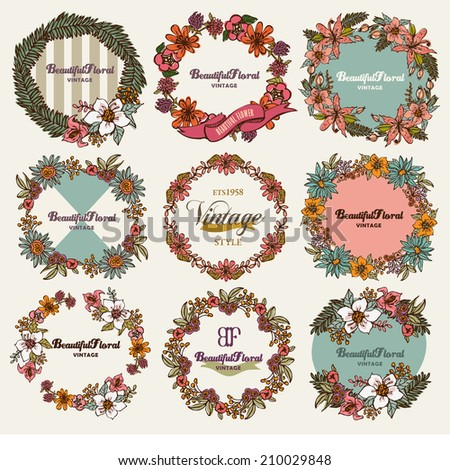Vintage Botanical - Wreath of Flowers , - stock vector