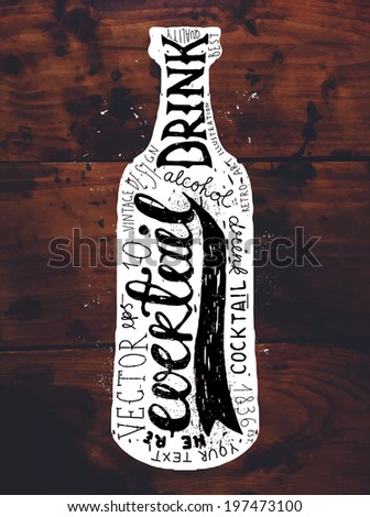 Vintage Bottle Label Design. Retro Typography Elements. Wood Texture Background - stock vector