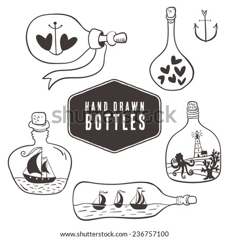 Vintage bottles with hearts and ships in nautical style. Hand drawn decorative elements. - stock vector