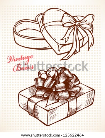 Vintage bows, gift boxes,  hand-drawn vector illustration - stock vector