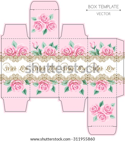 Vintage box design with roses and golden lace frame. Shabby chic illustration. Die-stamping. Vector template. - stock vector