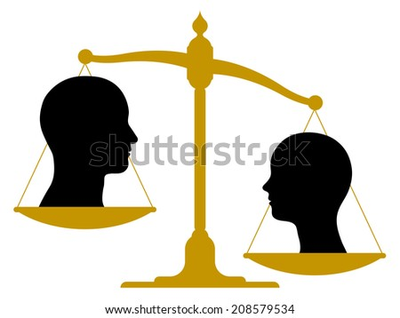 Vintage brass scale with male and female heads on the pans showing imbalance weighted in favour of the woman, conceptual image with vector eps-8 silhouettes on white - stock vector