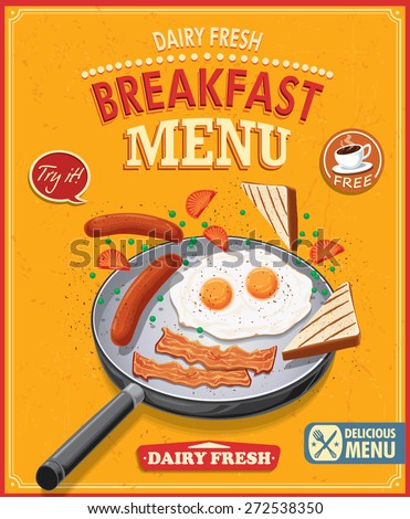 Vintage breakfast menu poster design - stock vector
