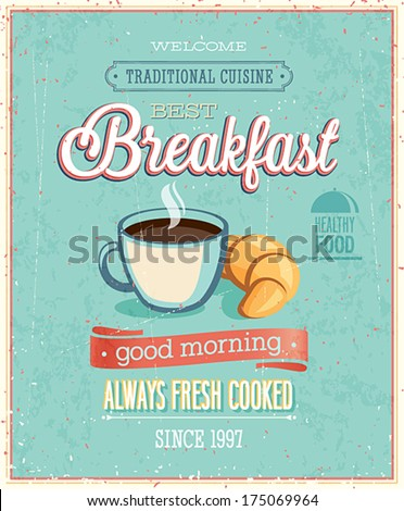 Vintage Breakfast Poster. Vector illustration. - stock vector