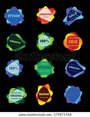 Vintage bright flat retro labels set of stamps, stickers, ribbons, marks and calligraphic design elements, vector for design - stock vector