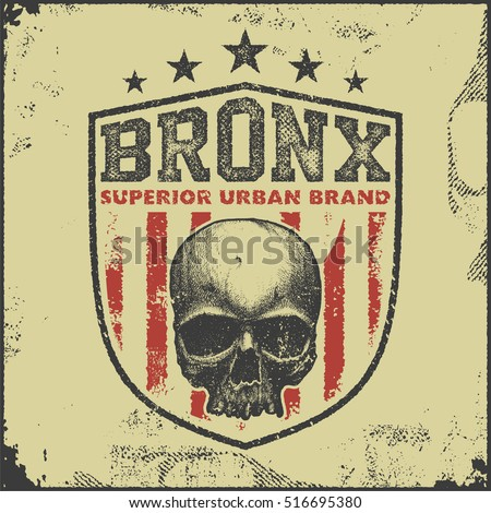 vintage bronx typography, t-shirt graphics, vector illustration