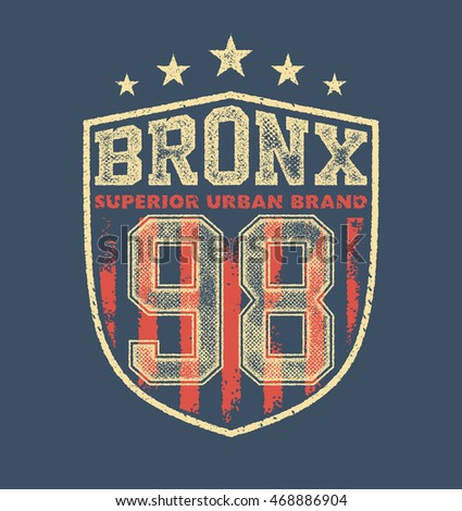 vintage bronx typography, t-shirt graphics, vectors illustration