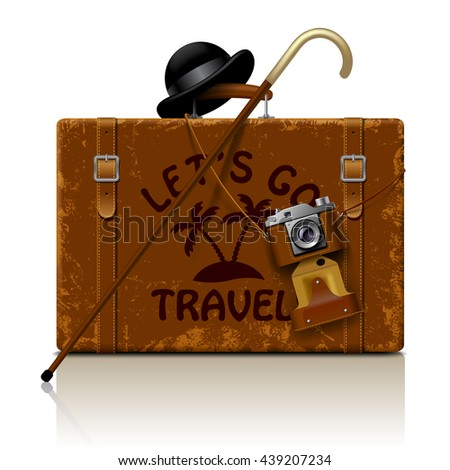 Vintage brown threadbare suitcase with walking stick, bowler hat and retro photo camera isolated on white. Let's go travel symbol and metaphor. Vector illustration - stock vector