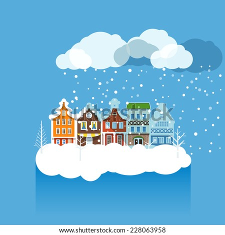 Vintage buildings with snowfall on Winter - stock vector