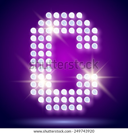 Vintage bulb lamp realistic font of 80s disco with stars. Letter C - stock vector