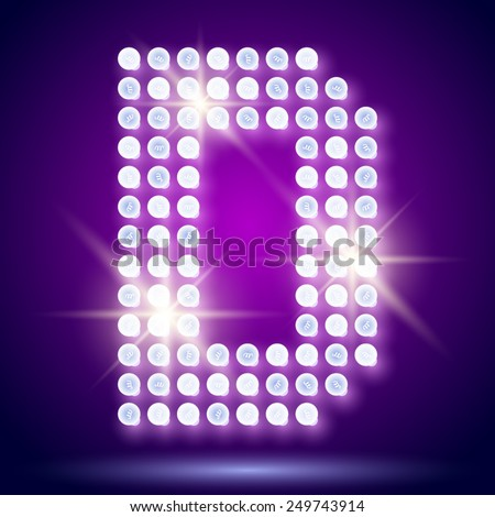 Vintage bulb lamp realistic font of 80s disco with stars. Letter D - stock vector