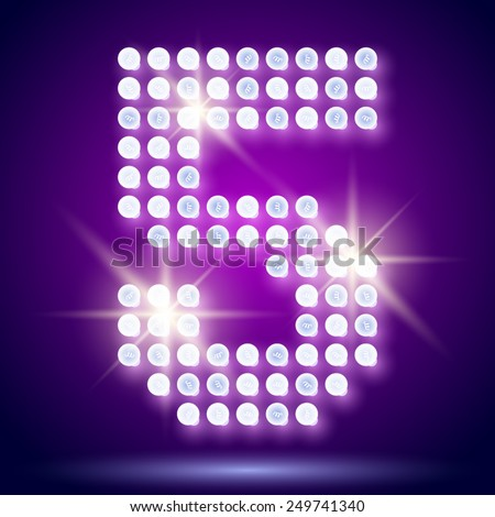 Vintage bulb lamp realistic font of 80s disco with stars. Number 5 - stock vector