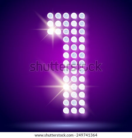 Vintage bulb lamp realistic font of 80s disco with stars. Number 1 - stock vector