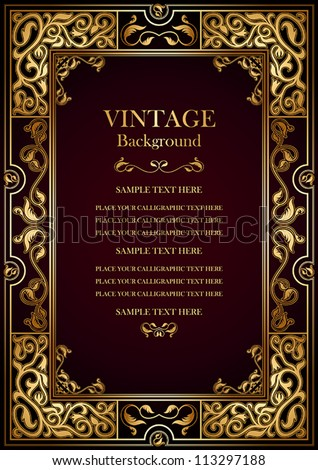 Vintage burgundy background, antique gold frame, victorian ornament, beautiful old certificate, award, royal diploma, ornate cover page, floral luxury rich ornamental pattern, achievement template - stock vector
