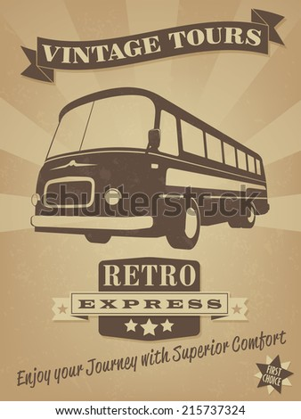 Vintage Bus Retro Advertising Poster. Vector Illustration of vintage bus with banner, badge and grunge texture - stock vector
