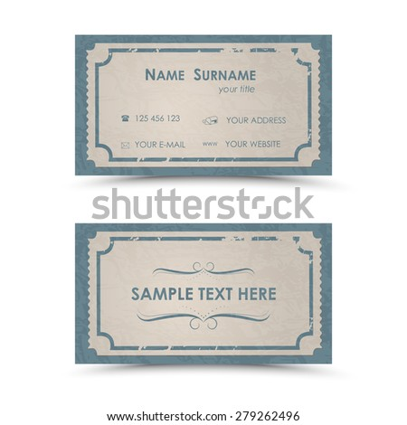 Vintage Business Card Template Stock Vector Shutterstock - Vintage business card template