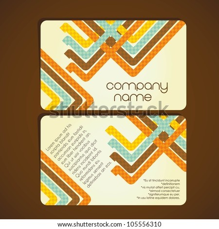 Vintage business card with  lines formed by colored squares, vector illustration - stock vector