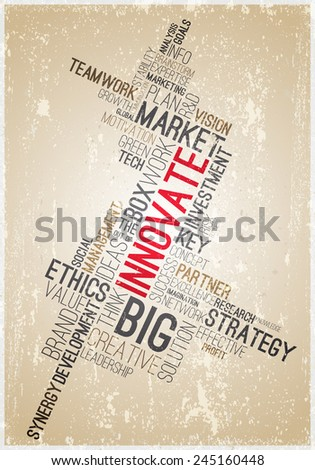 Vintage business poster word cloud. Market related ideas typographic concept. Texture effects can be turned off. - stock vector