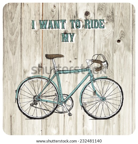 Vintage bycicle hand drawn poster - stock vector