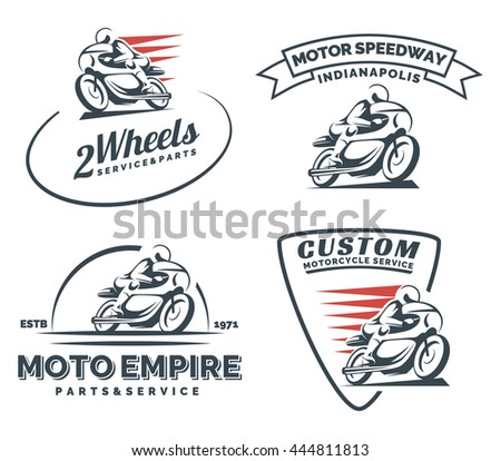 Vintage cafe racer motorcycle logo, badges and emblems isolated on white background. Motorcycle restoration, service and parts.