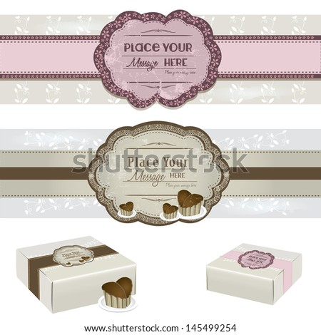 Vintage Cake Label with sweet cake boxes - stock vector