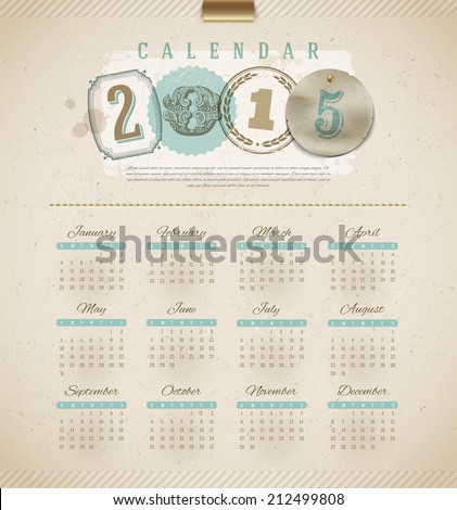 Vintage calendar 2015 - vector illustration - stock vector