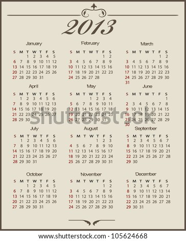 vintage  calendar 2013 (week starts on Sunday) - stock vector