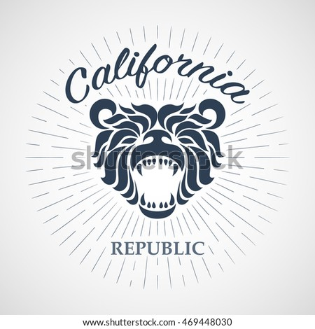 Vintage California Republic bear with sunbursts, t-shirt print graphics