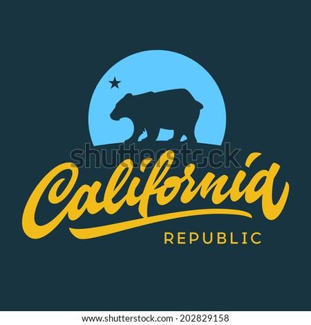 Vintage california republic calligraphic handwritten t-shirt apparel fashion design and bear - stock vector