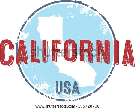 Vintage California State USA Stamp - stock vector