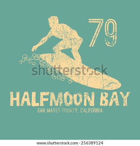 Vintage California surf typography, t-shirt graphic , vector - stock vector