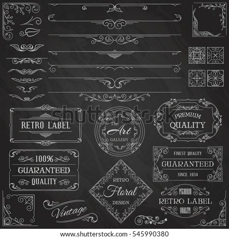 Vintage Calligraphic Design Elements and Page Decoration Set. Typographic Background With Chalk Word Art On Blackboard. Vector Illustration