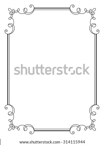 Vintage calligraphic frame, decorative design element in retro style, simple rectangle frame with swirls, certificate, invitation, vector scroll embellishment on white - stock vector